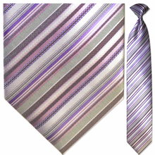 Men's Woven Purple & Grey Striped Necktie