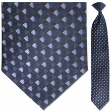 Men's Woven Purple + Black Diamond Pattern Clip-On Tie
