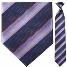 Men's Woven Purple Multi-Striped Clip On Tie