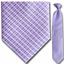 Men's Woven Purple Plaid Clip-On Tie