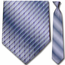 Men's Woven Purple + White Stripe Pattern Clip On Tie