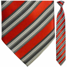 Men's Woven Red and White Striped Necktie
