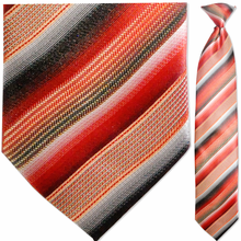 Men's Woven Red Multi Striped Clip On Tie