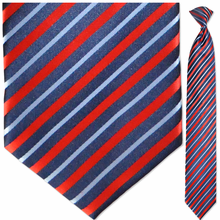 Men's Silk Woven Red + Navy w/ Light Blue Stripes Clip On Tie
