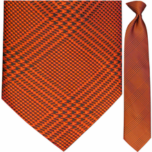 Men's Woven Red Plaid Pattern Clip-On Tie