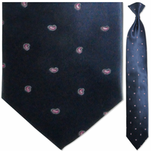Men's Woven Navy + Pink Small Paisley Pattern Clip-On Tie
