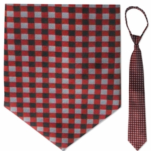"Men's Woven Red Squares Pattern 19"" Zipper-Tie"