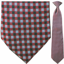 Men's Woven Red Squares Pattern Clip-On Tie