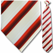 Men's Woven Red + White Striped Clip On Tie