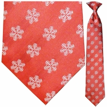 Men's Woven Red Winter Snowflake Necktie