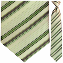 Men's Woven Sage Green Striped Necktie