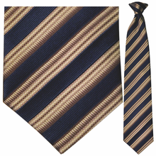 Men's Woven Silk Navy + Brown Stripe Clip On Tie
