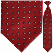 Men's Woven Silk Red Pattern Clip-On Tie