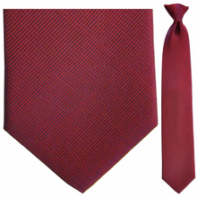 Men's Woven Silk Red w/ Blue Pin Stripes Clip On Tie