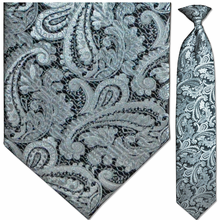 Men's Woven Monochrome Large Paisley Clip-On Tie