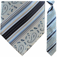 Men's Woven Silver & Blue Paisley Striped Tie