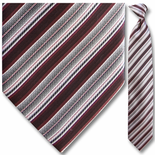 Men's Woven Grey + Maroon Striped Clip On Tie