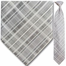 Men's Woven Grey + White Plaid Clip-On Tie