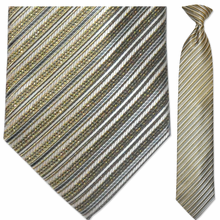 Men's Woven Sparkling Gold and Blue Pin Striped Necktie