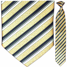 Men's Woven Sparkling Gold Striped Clip On Tie