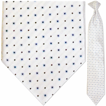 Men's Woven White + Blue Snowflake Pattern Clip-On Tie