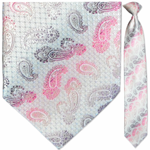 Men's Woven White, Purple + Pink Paisley Pattern Clip-On Tie