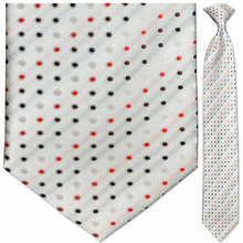 Men's Woven White w/ Red + Black Dots Clip-On Tie