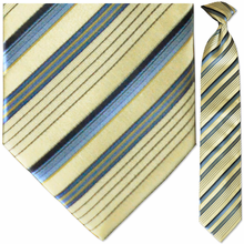 Men's Woven Silk Yellow & Blue Striped Necktie