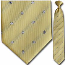 Men's Yellow Small Paisley Pattern Clip-On Tie