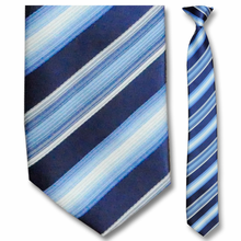 Men's Skinny Woven White, Blue + Navy Striped Clip-On Tie