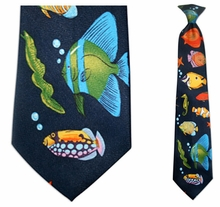 Mens Aquarium Theme Clip On Necktie