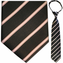 "Mens Woven Black & Red Stripe 19"" Zipper Tie"