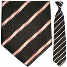 Mens Woven Black w/ Red + White Stripes Clip On Tie