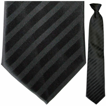 Mens Black Stripe Clip On Tie