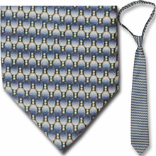 Mens Blue Oval Pattern 23 inch Zipper Necktie