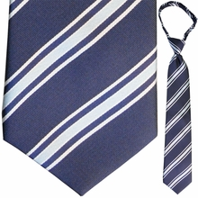 "Mens Woven Blue Striped 19"" Zipper Tie"