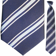 Men's Blue Striped Clip On Tie