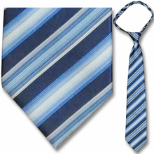 "Men's Woven White, Blue & Navy Striped 23"" Zipper Tie"