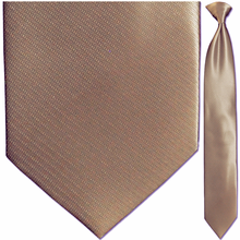 Mens Solid Brown Jacquard Clip-On Tie