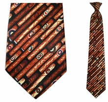 Mens Cigar Theme Clip On Necktie