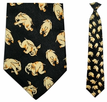 Mens Elephant  Pattern Clip On Necktie