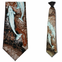 Mens Fish Theme Clip On Necktie