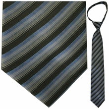"Mens Woven Grey, Black, and Blue Stripe 19"" Zipper Tie"