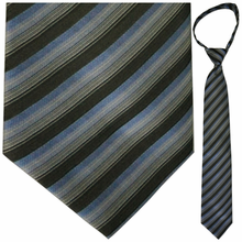 "Mens Woven Grey, Black, and Blue Stripe 21"" Zipper Tie"