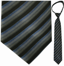 "Mens Woven Grey, Black, and Blue Stripe 23"" Zipper Tie"