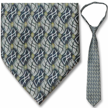 Men's Grey/Black Flag Pattern 23 inch Zipper Necktie