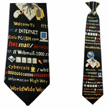 Mens Internet Theme Clip On Necktie