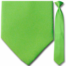 Mens Solid Lime Green Clip-On Tie