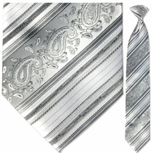 Men's Woven Monochrome + White Paisley Striped Tie