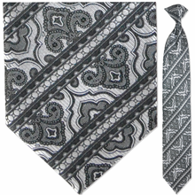 Men's Woven Monochrome Striped Pattern Clip On Tie
